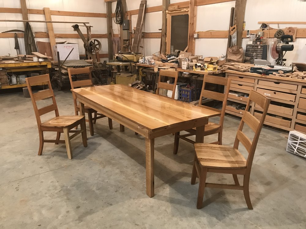 Handcrafted durable kitchen or dining room table made by the father and son duo out of Rineyville, Kentucky.