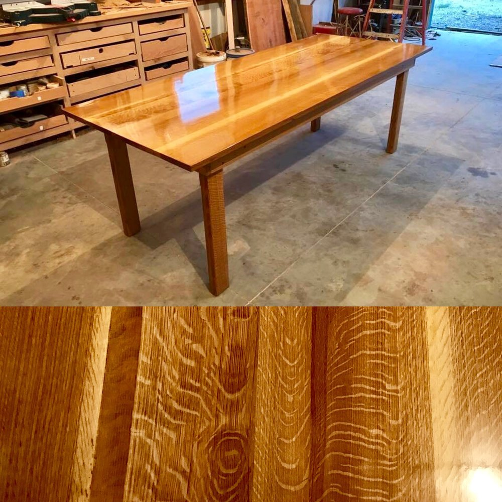 This perfectly finished kitchen table made custom by Woods Of Wisdom