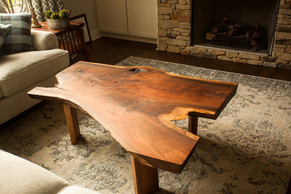 Black Walnut Coffee table handcrafted by the father and son duo at Woods of Wisdom.