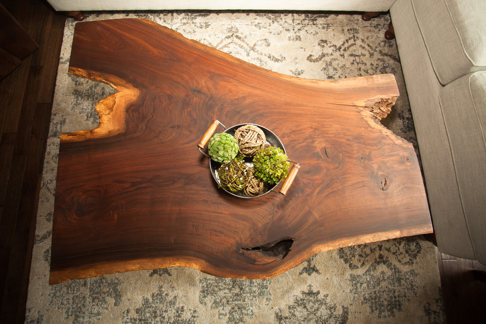 Live edge wood coffee table in its most natural state.