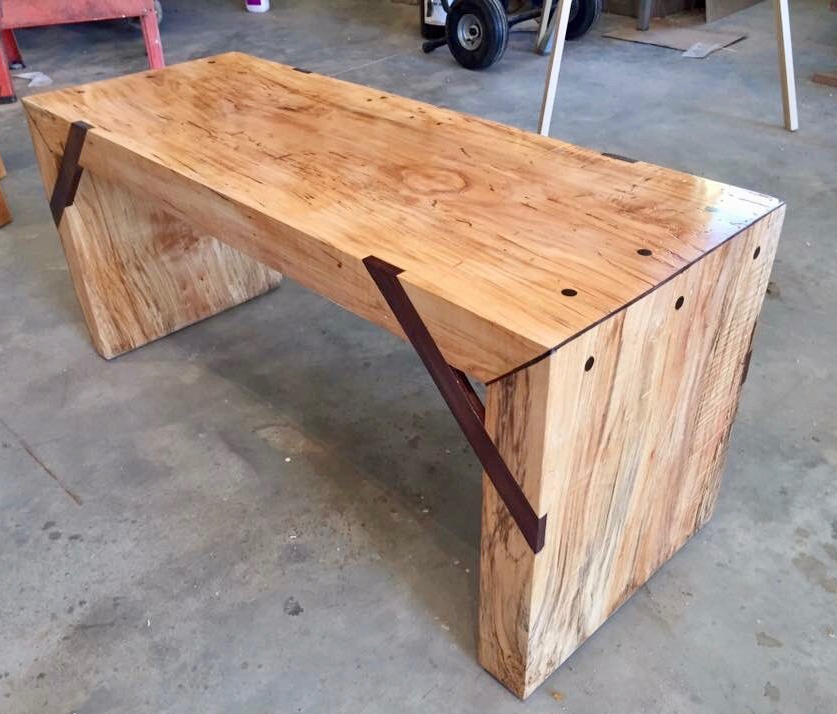 This custom wood office desk was made special for a
