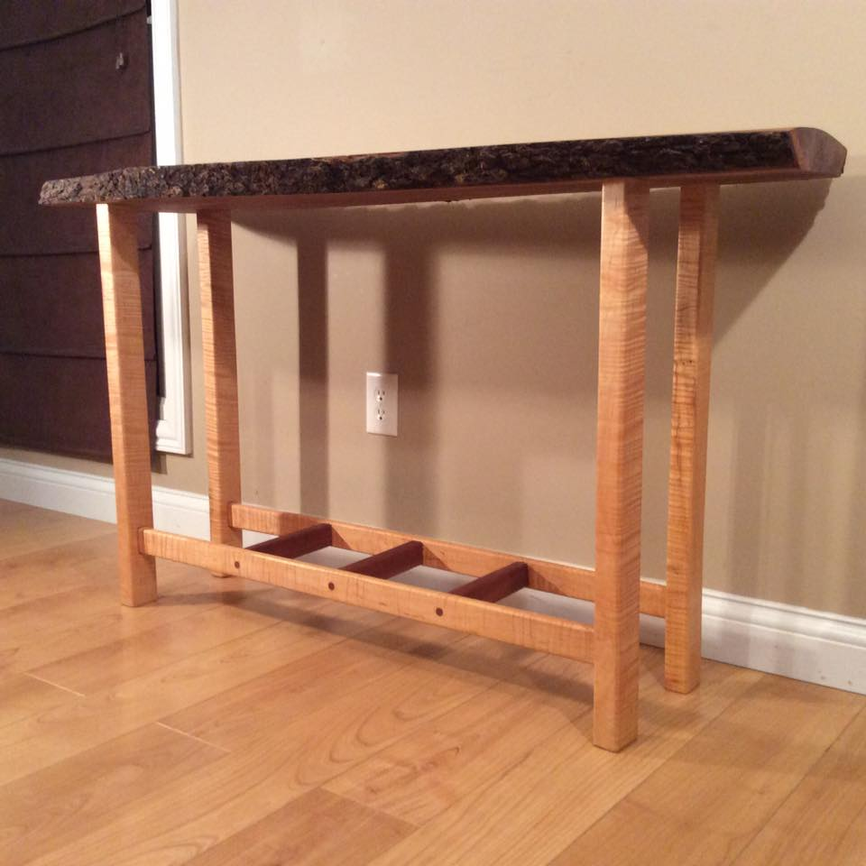 Cherry top with Curly Maple legs on this beautiful handcrafted occasional table.