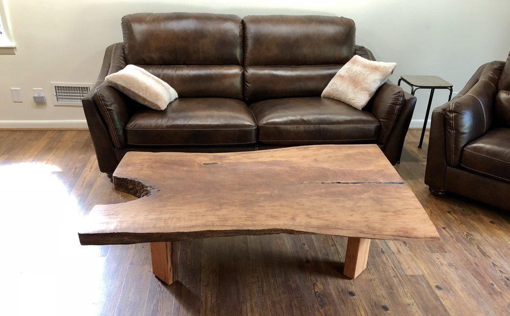 Live edge wood coffee table in its most natural state